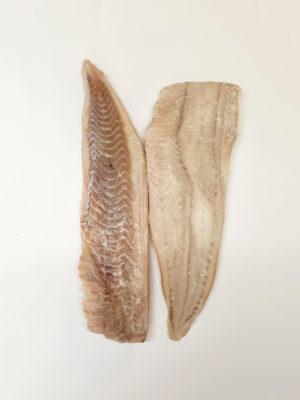 Ledjūrio menkės-Saidos filė be odos dydis 400-800g/filė. Kaina 10,00 €/kg.