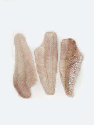 Jūros lydekos (merluccius hubbsi) filė dydis 140–200g/filė. Kaina 9,70 €/kg